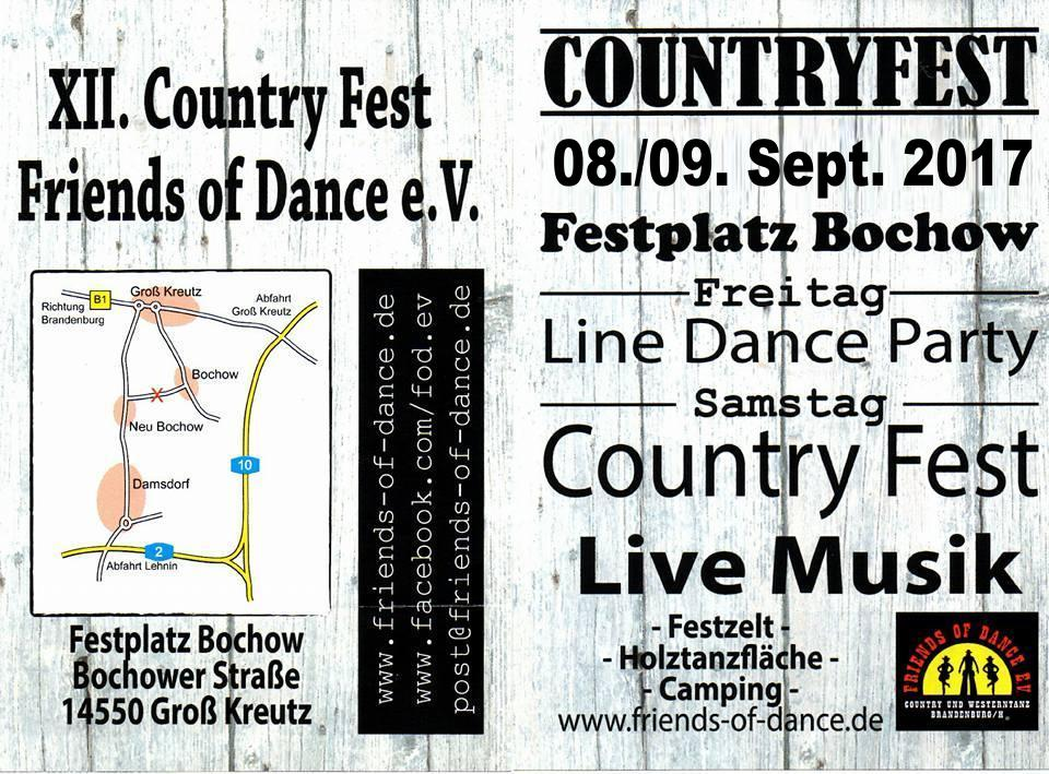 Flyer 12. Countryfest der Friends of Dance in Bochow